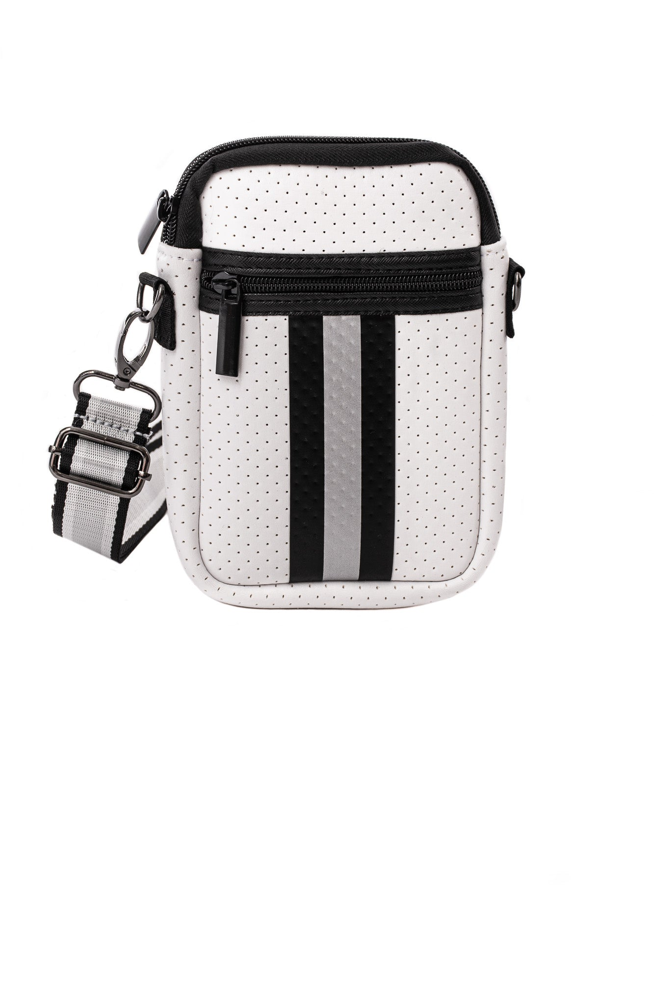 Haute Shore - Casey New Midtown Neoprene Cell Phone Case (Casey, White w/Black & Silver Stripe)