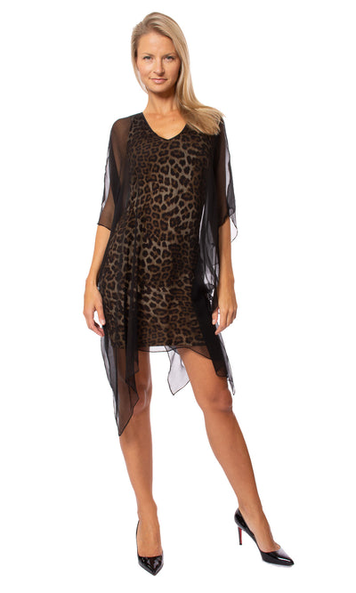 Analili - Leopard Print Dress W/Black Cover Shift (A1683, Leopard & Black)