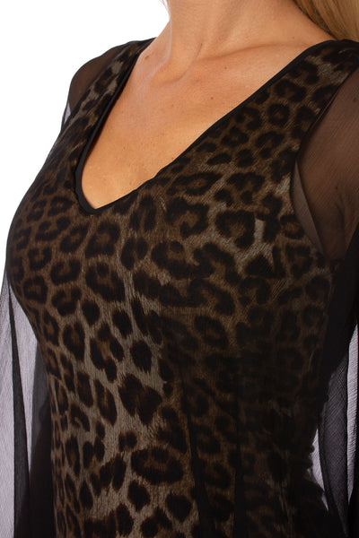 Analili - Leopard Print Dress W/Black Cover Shift (A1683, Leopard & Black) alt view 5
