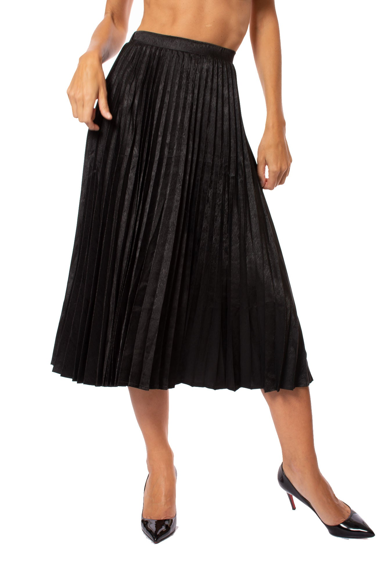 Lucca - Pleated Skirt (LC030047, Black)