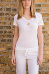 Slub Jersey Sexy V Neck Tee w/Star (Style SLUB-11-601, White w/Gold Star) by Hard Tail Forever