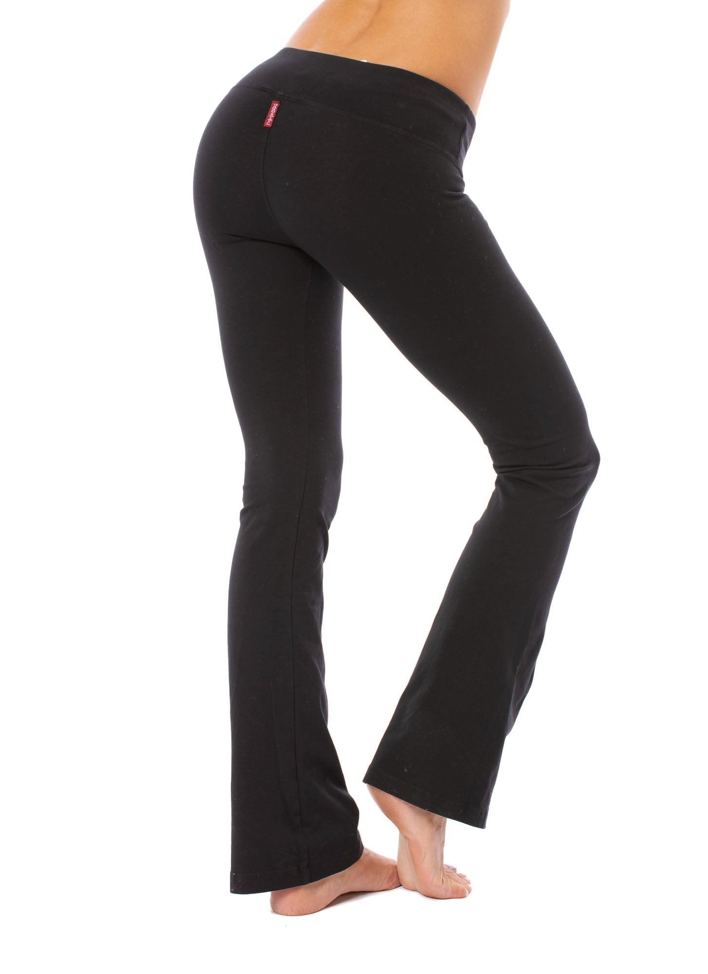Hard Tail Forever - Flat Waist Wide Flare Bottom (W-453, Black)