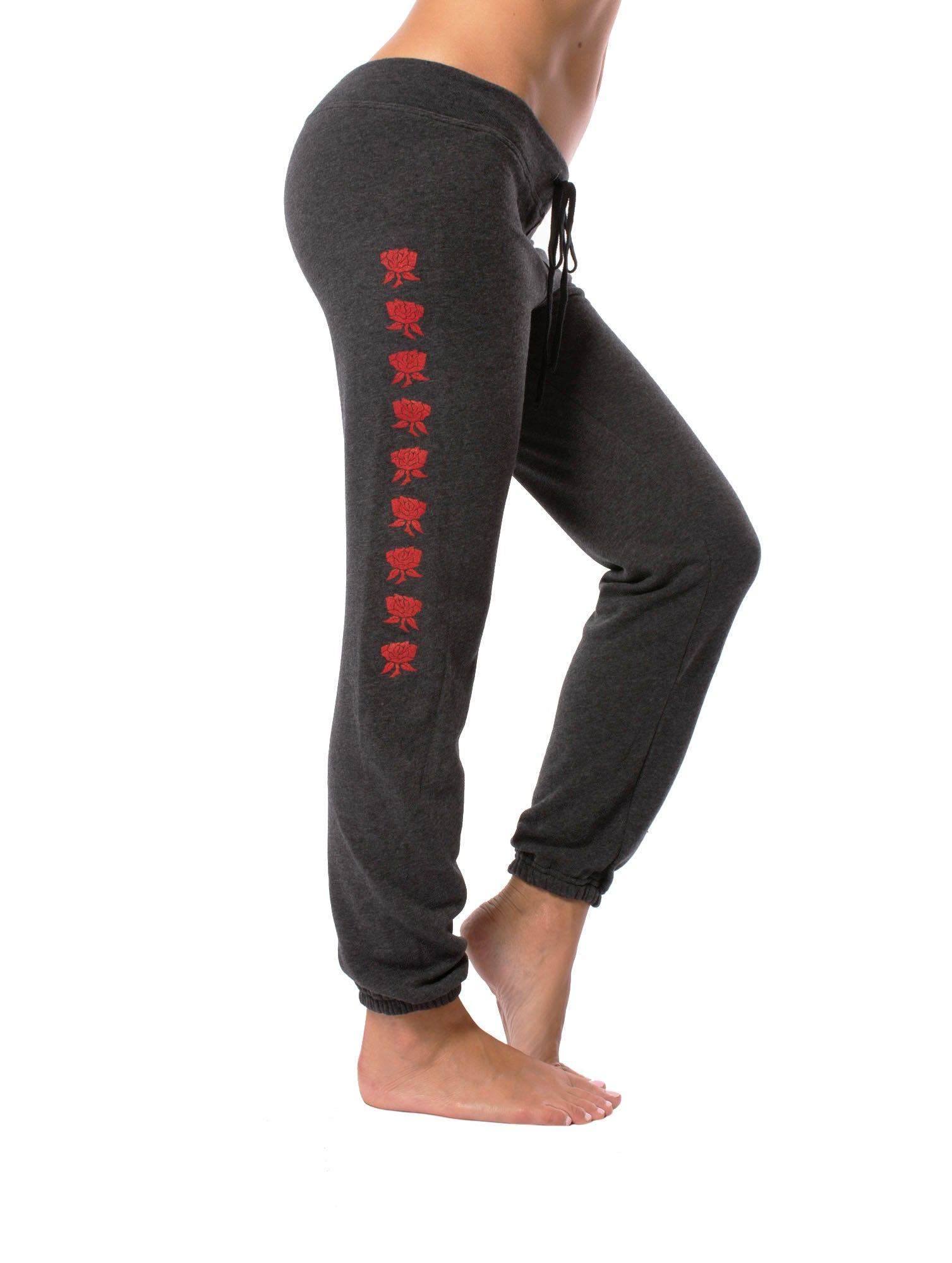 Fleece Pull On Ankle Pants w/Stars (Style RICH-07, Black w/Red Stars) by Hard Tail Forever