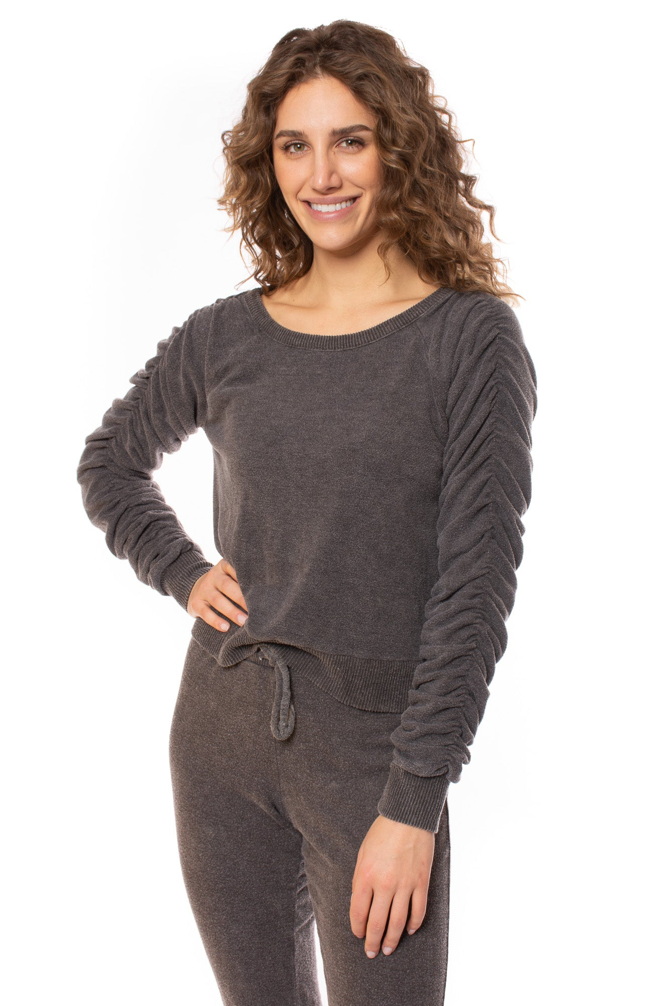 Chaser - Bliss Knit Long Sleeve Raglan Sweater (CW8486, Pilling Grey) alt view 1