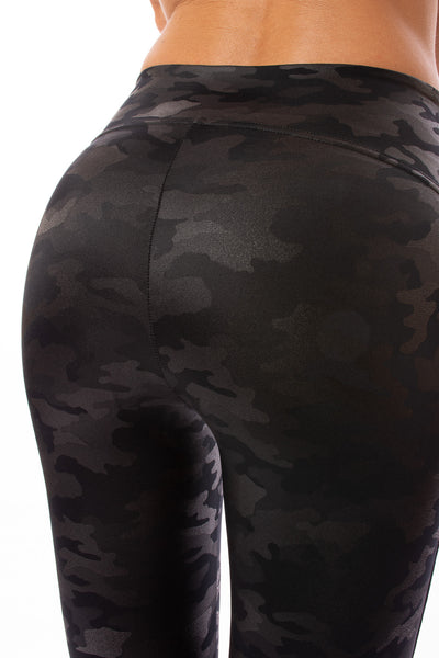 Spanx - Faux Leather Camo Legging (20185R, Matte Black Camo) alt view 1