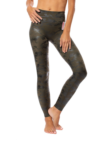 Spanx - Faux Leather Camo Legging (20185R, Green Leather Camo)