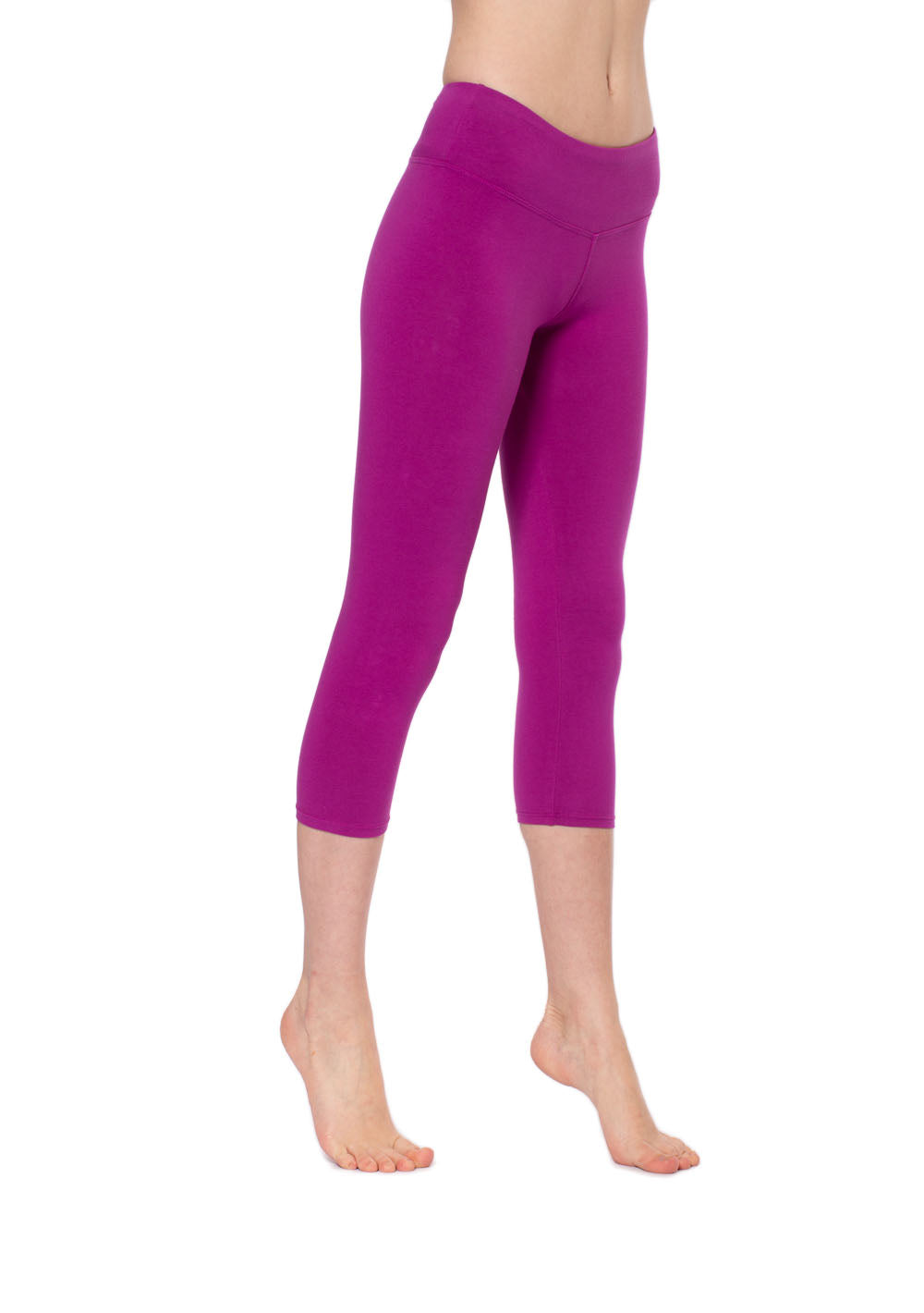 Flat Waist Capri (Style W-374, Berry) by Hard Tail Forever