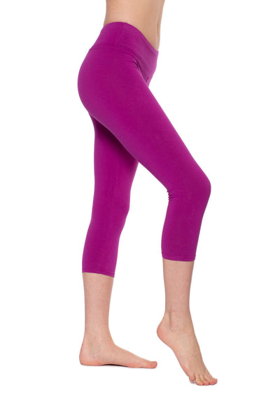 Flat Waist Capri (Style W-374, Berry) by Hard Tail Forever alt view 2