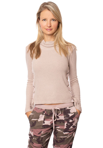Hard Tail Forever - Funnel Neck Lace Sweater (ASH-01, Rose)
