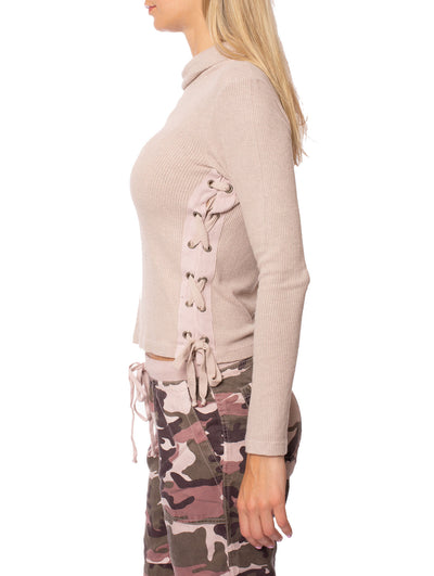 Hard Tail Forever - Funnel Neck Lace Sweater (ASH-01, Rose) alt view 1