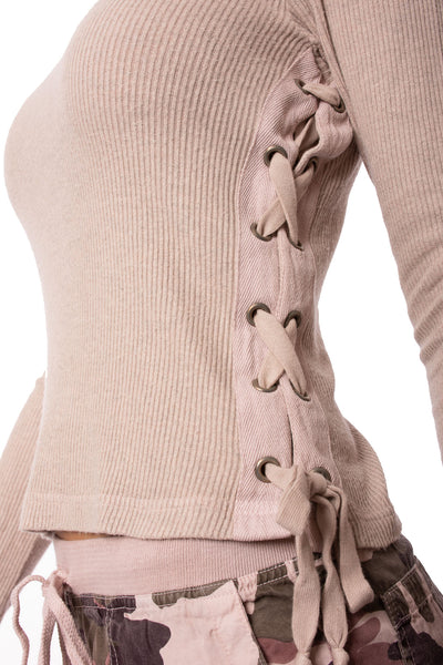 Hard Tail Forever - Funnel Neck Lace Sweater (ASH-01, Rose) alt view 4