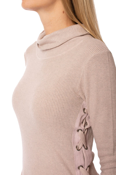 Hard Tail Forever - Funnel Neck Lace Sweater (ASH-01, Rose) alt view 5