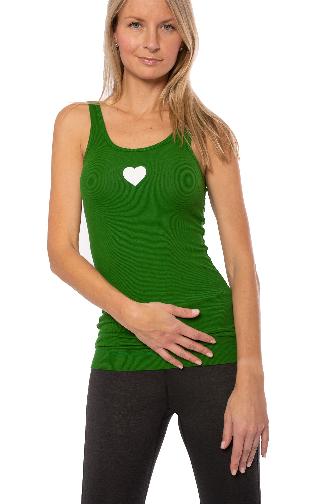 Skinny Tnk W Sml Heart (Style RR-19-711, Kelly Green/White) by Hard Tail Forever