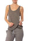 Hard Tail Forever - Slouchy Sheer Striped Racer Tank (HGS-01, Heather Gray w/Gold Lurex)