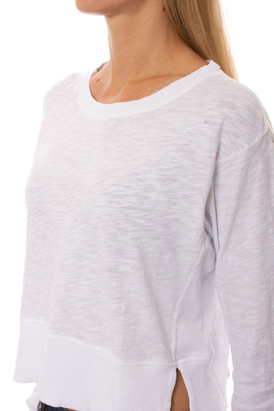 Bobi - Long Sleeve Crop Crew (579-26187, White) alt view 5