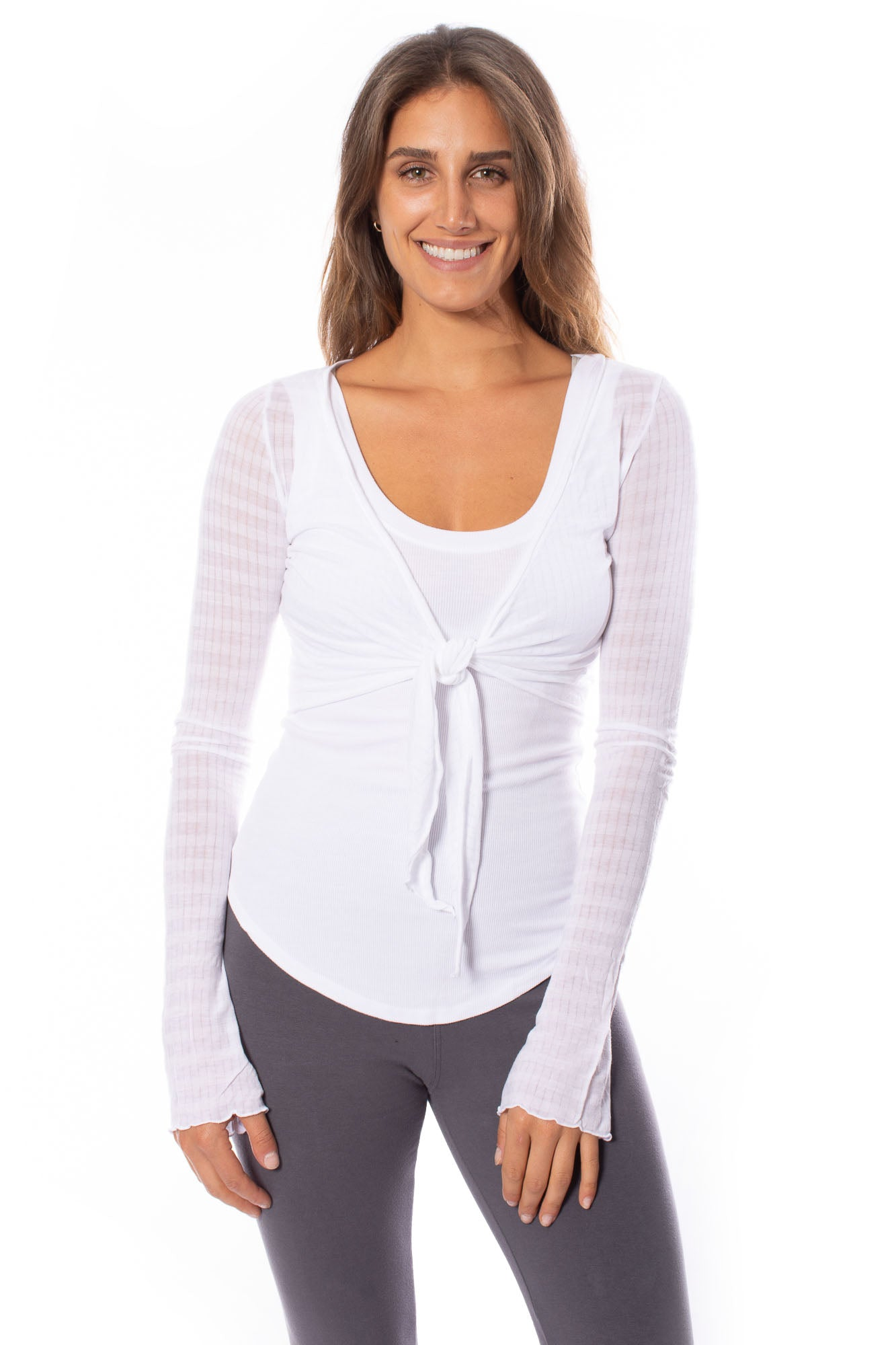 Hard Tail Forever - Sheer Tie Front Long Sleeve Wrap (NS-07, White)