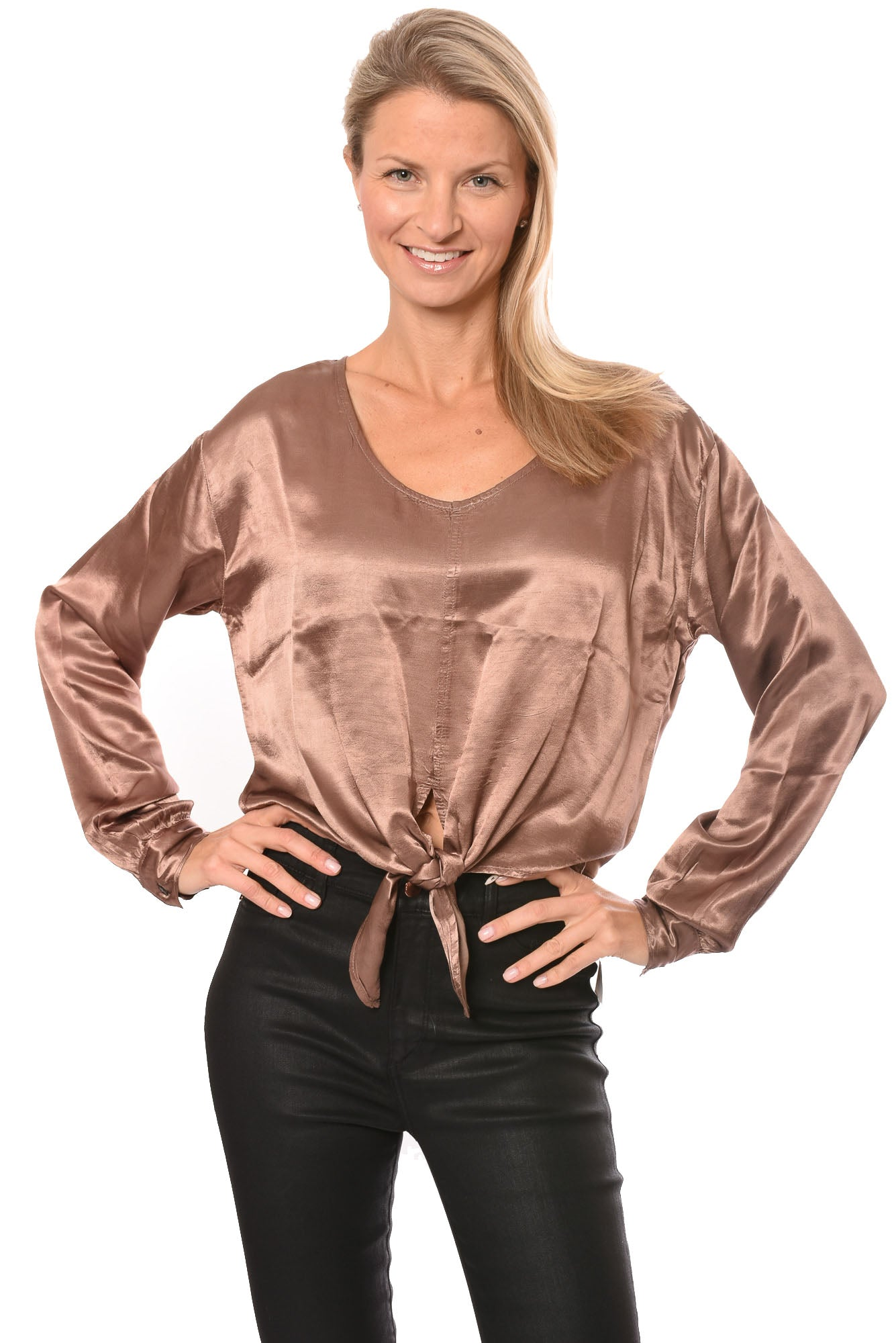 Hard Tail Forever - Silky Tie Front Top (SAT-22, Latte)