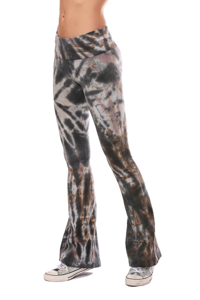 Hard Tail Forever - Contour Roll Down Boho Bell Bottom Flare Pant (W-598, Tie-Dye TTS2)