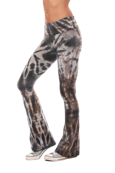 Hard Tail Forever - Contour Roll Down Boho Bell Bottom Flare Pant (W-598, Tie-Dye TTS2) alt view 1