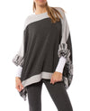 Capote - Ultra Soft Color Block Poncho W/Faux Fur (YANIV84, Silver)