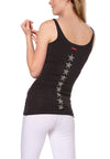 Supima/Lycra Tank w/Star Down Back (Style SL-138-602, Raven/Silver) by Hard Tail Forever