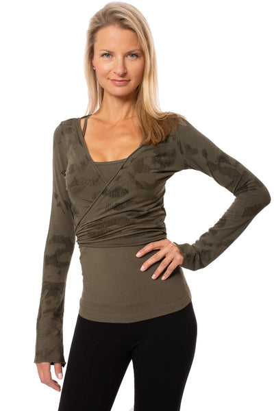 Hard Tail Forever - Crop Bell Sleeve (SL-12, Camo Olive)