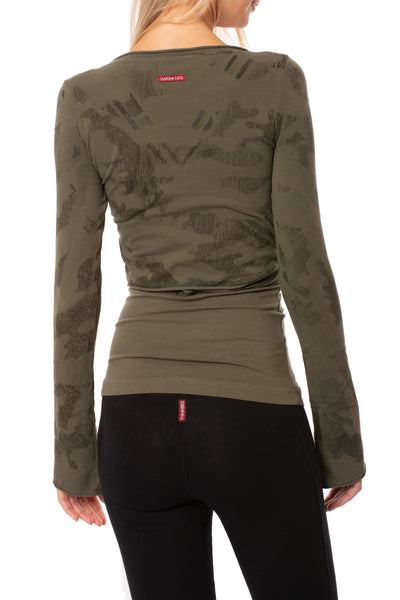 Hard Tail Forever - Crop Bell Sleeve (SL-12, Camo Olive) alt view 2