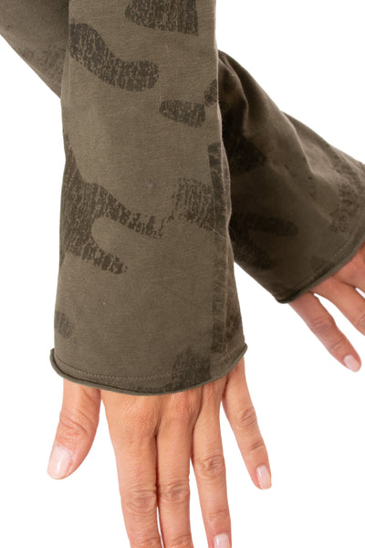 Hard Tail Forever - Crop Bell Sleeve (SL-12, Camo Olive) alt view 3