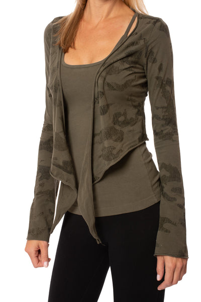 Hard Tail Forever - Crop Bell Sleeve (SL-12, Camo Olive) alt view 4
