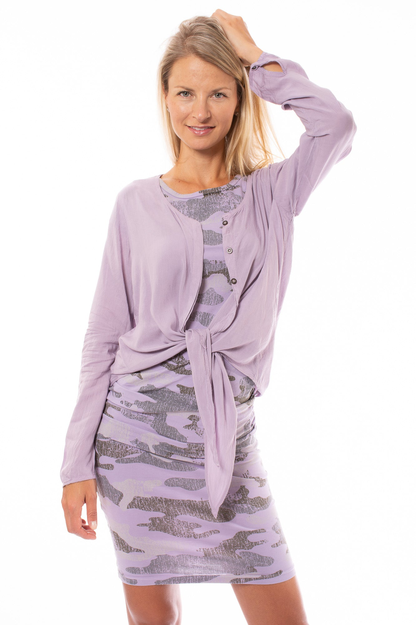 Hard Tail Forever - Voile Long Sleeve Tie Front Shirt (RV-24, Lavender)