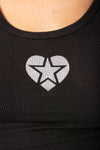Rayon Ribbed Tank W/Star Heart (Style RR-19-911, Black w/Silver Star Heart) by Hard Tail Forever
