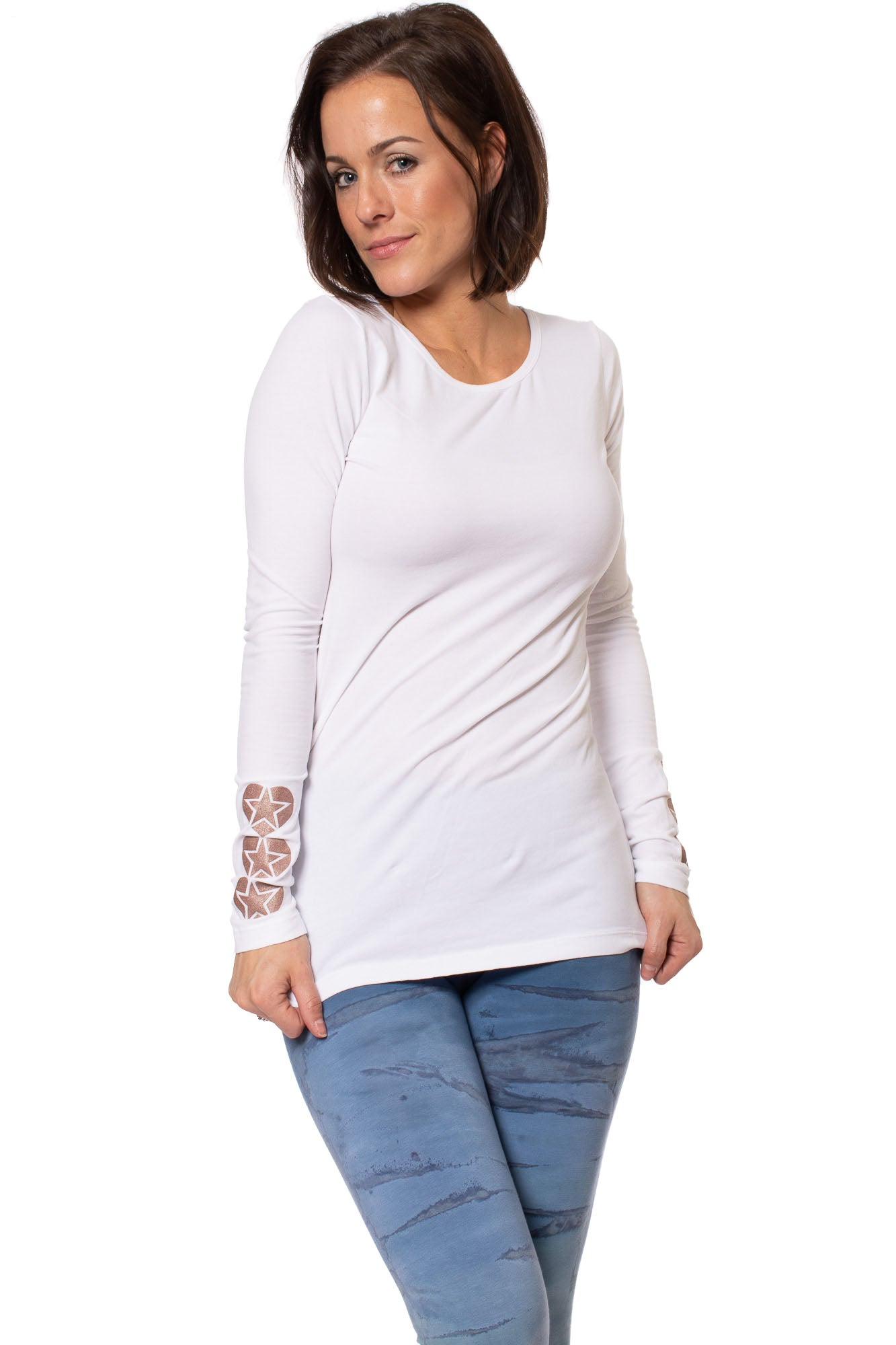Hard Tail Forever - Supplex Lycra Long Sleeve Scoop Tee  (SL-69-907, White w/Rose Gold Stars)
