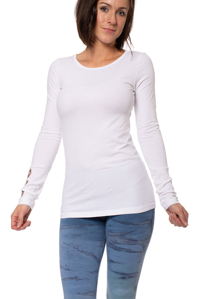 Hard Tail Forever - Supplex Lycra Long Sleeve Scoop Tee  (SL-69-907, White w/Rose Gold Stars) alt view 1