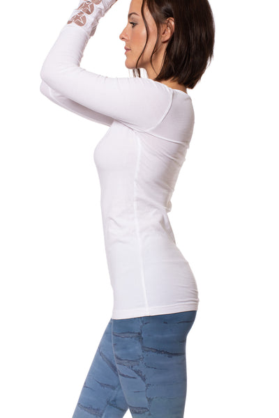 Hard Tail Forever - Supplex Lycra Long Sleeve Scoop Tee  (SL-69-907, White w/Rose Gold Stars) alt view 2