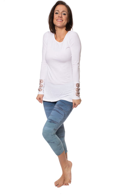 Hard Tail Forever - Supplex Lycra Long Sleeve Scoop Tee  (SL-69-907, White w/Rose Gold Stars) alt view 8