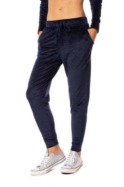 Bobi - Drawstring Pocketed Plush Jogger (549-29602, Midnight Blue)