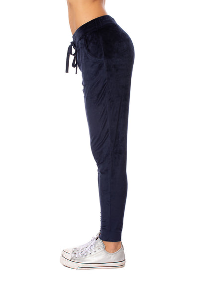 Bobi - Drawstring Pocketed Plush Jogger (549-29602, Midnight Blue) alt view 1