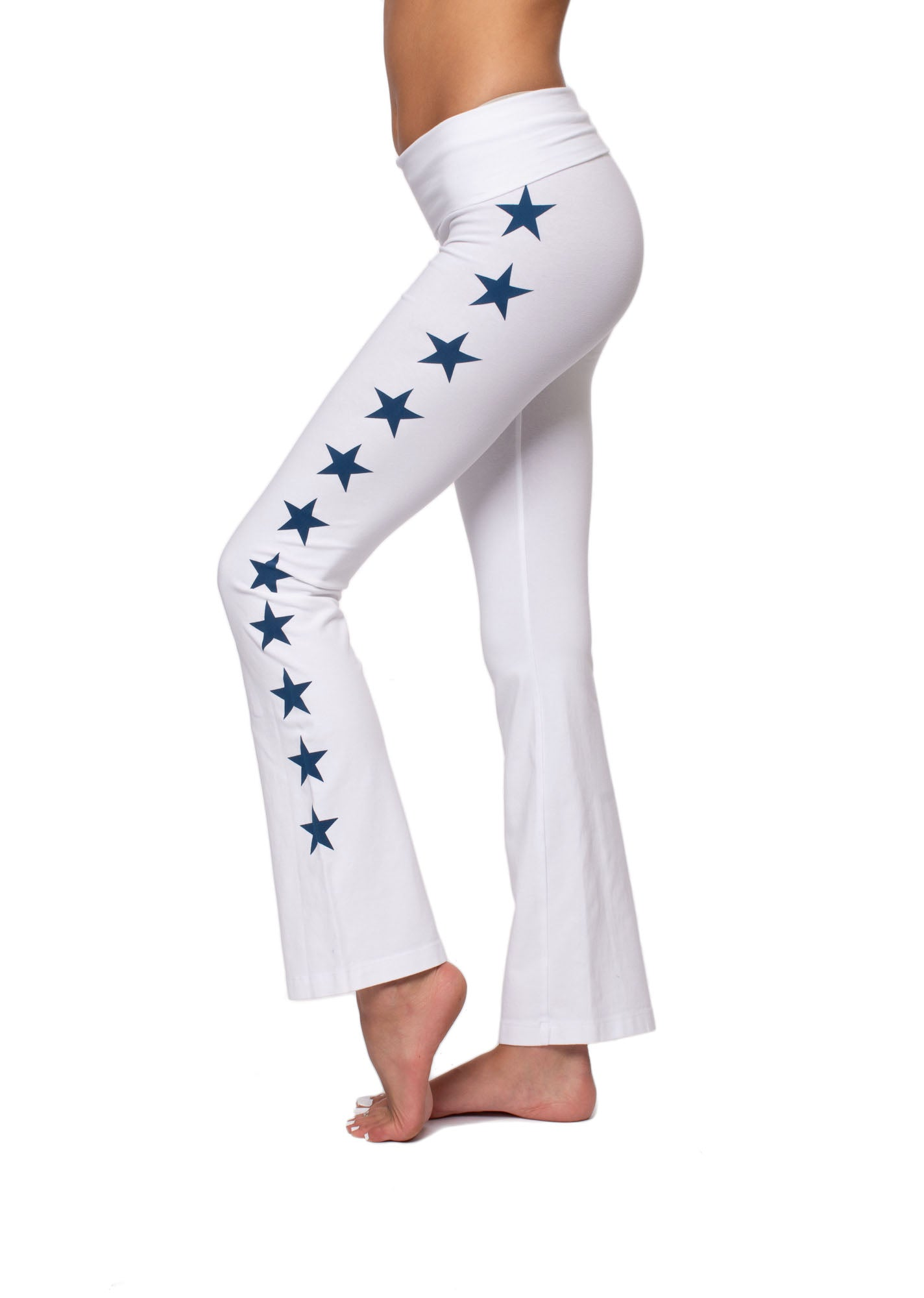 Roll Down Boot Leg (Style 330-505, White w/Navy Stars) by Hard Tail Forever