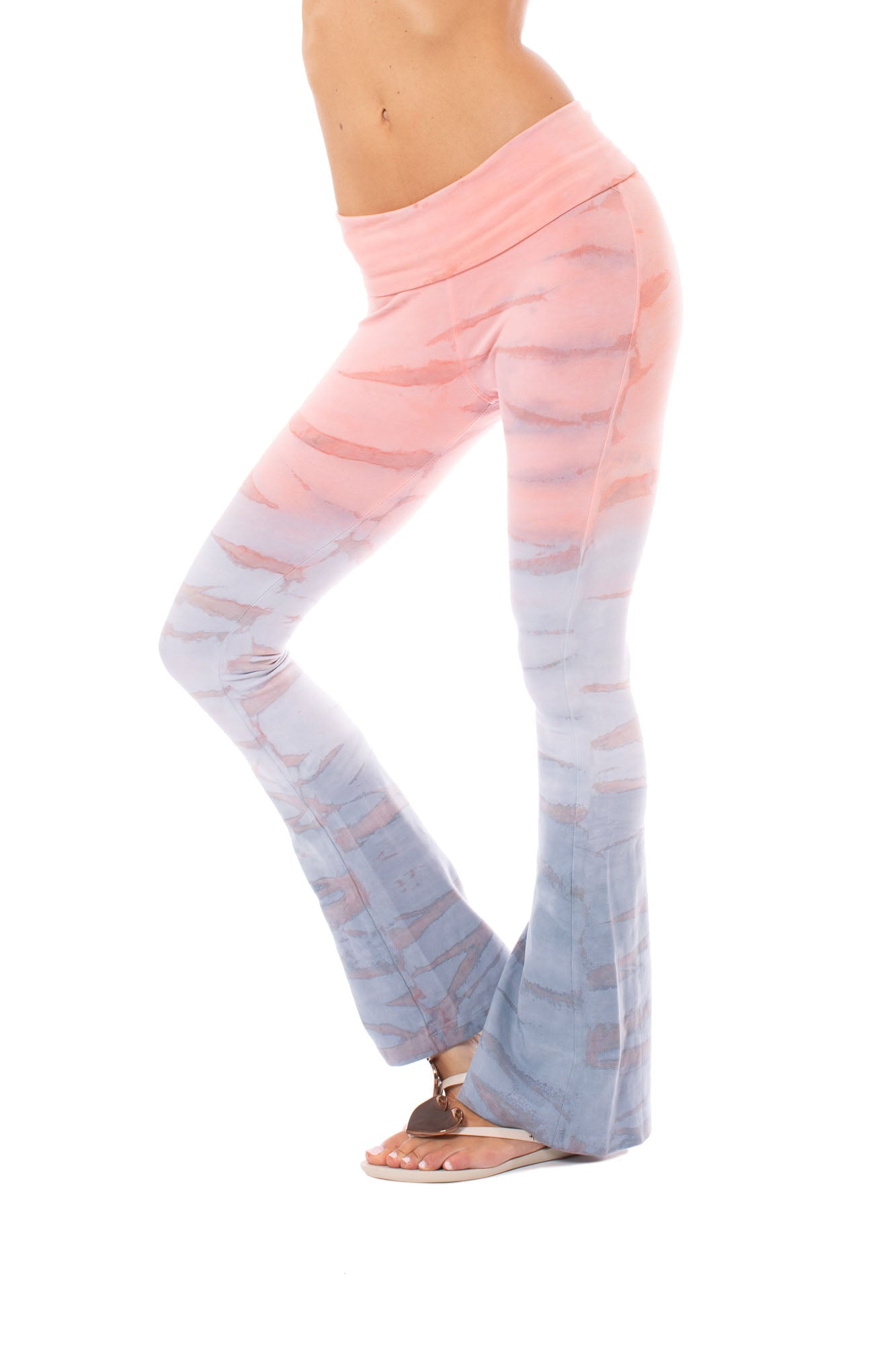 Hard Tail Forever - Contour Roll Down Boho Bell Bottom Flare Pant (W-598, Tie-Dye RH87)