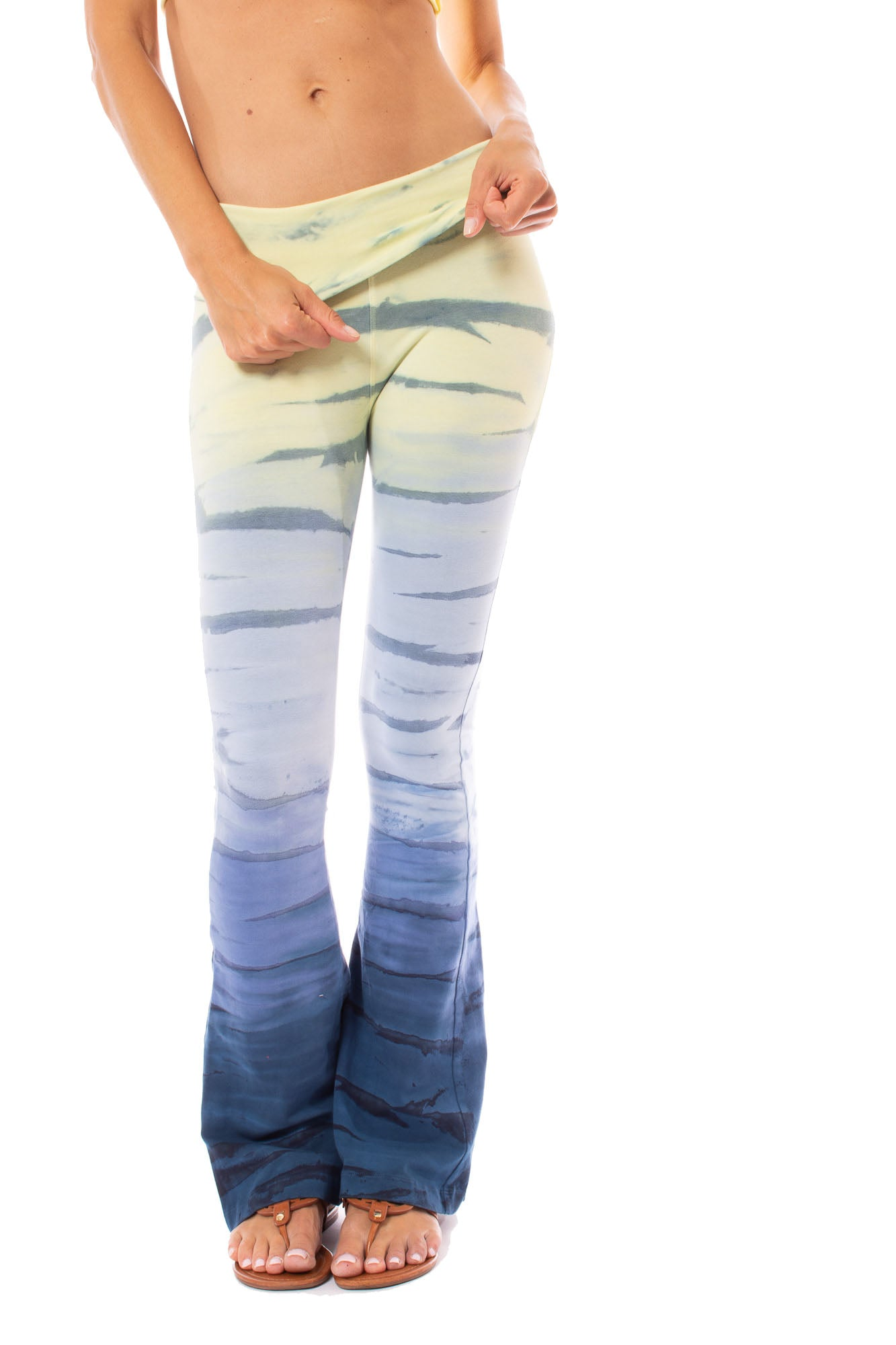 Hard Tail Forever - Contour Roll Down Boho Bell Bottom Flare Pant (W-598, Tie-Dye RH84)