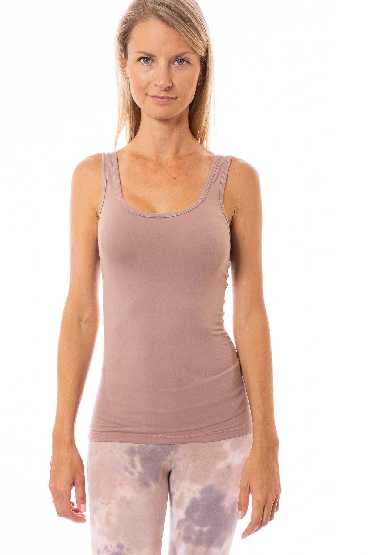 Hard Tail Forever - Supima Cotton Sexy Tank W/Rose Gold Stars (SL-21-602, Mauve w/Rose Gold Stars)