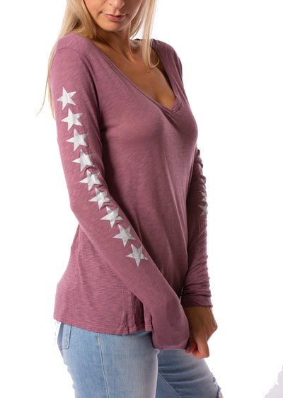 Slub Jersey Long Sleeve Tee W/Side Arm Stars (Style SLUB-25-507, Crush w/Silver Stars) by Hard Tail Forever alt view 1