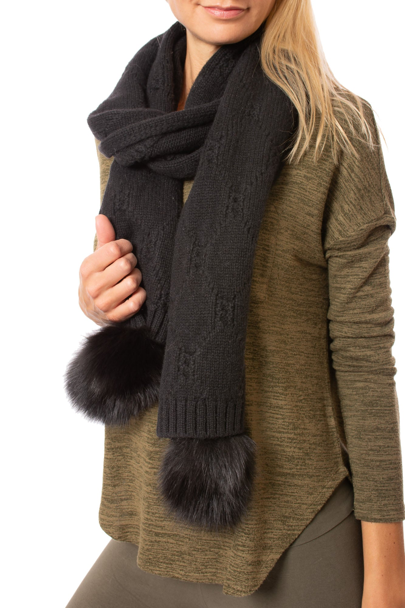 Mitchie's - Wool Knit Scarf w/Fox Fur Trim Pom (ims10, Black)