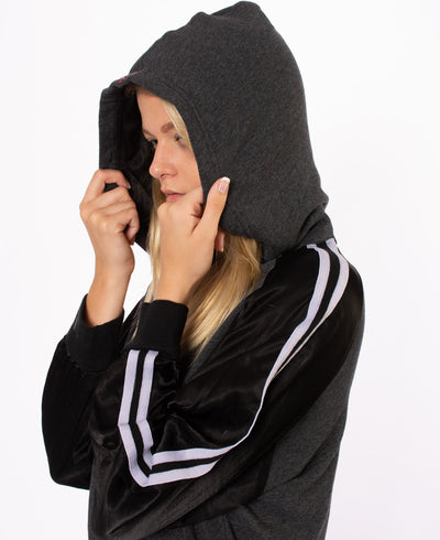 Racing Stripe Crop Hoodie (Style RICH-14, Black) by Hard Tail Forever