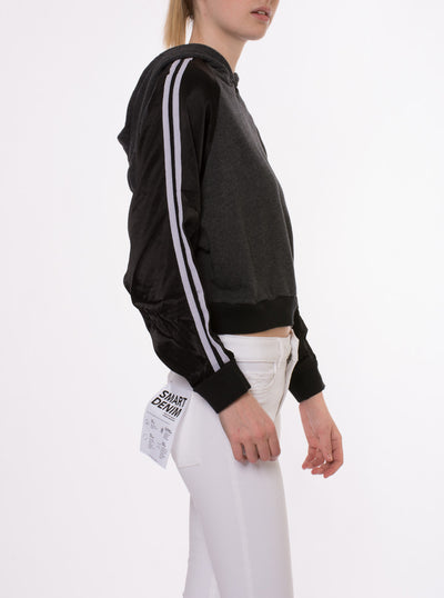 Racing Stripe Crop Hoodie (Style RICH-14, Black) by Hard Tail Forever alt view 7