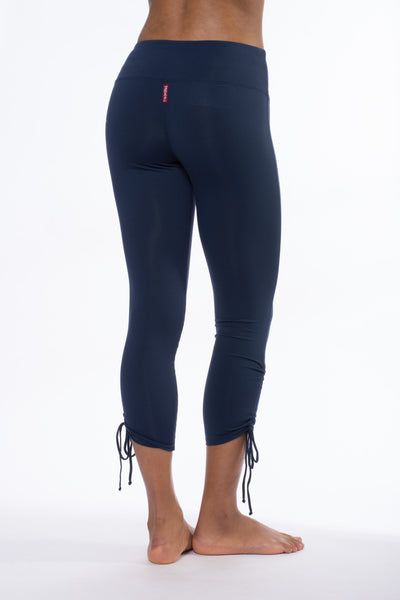 Supplex/Lycra Flat Waist Ruched Capri (Style SUP-49, Midnight Blue) by Hard Tail Forever alt view 2
