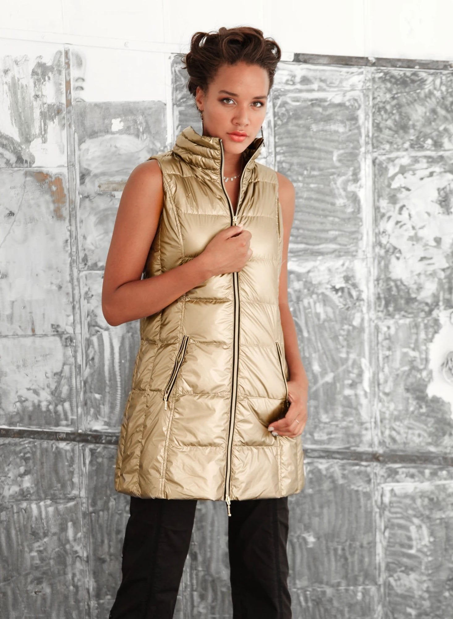 Long Puffy Vest (Style 50171CA, Metalic Gold) by Anorak