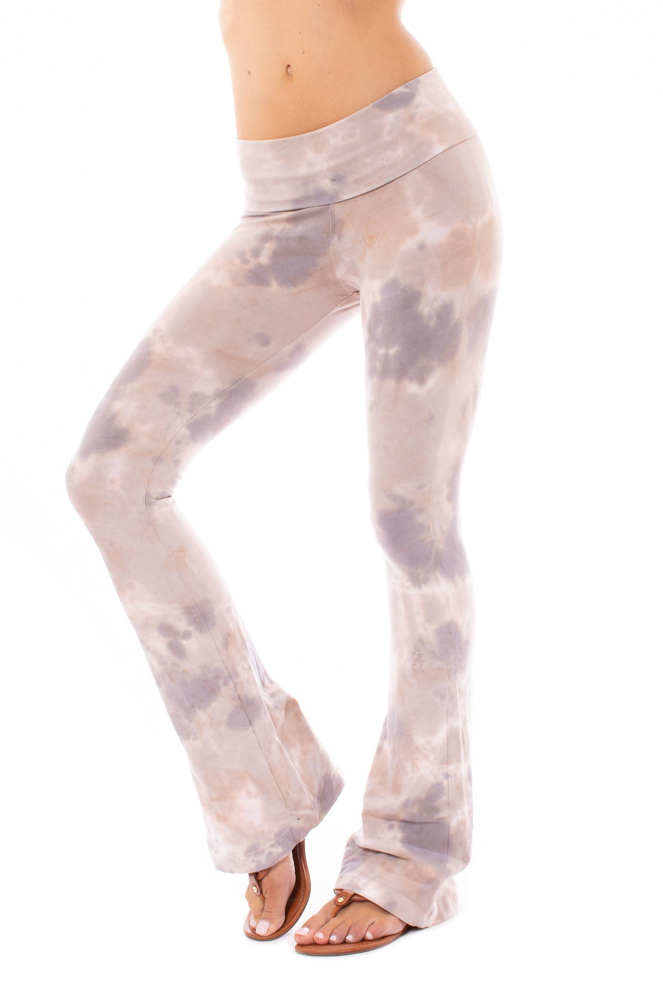 Hard Tail Forever - Contour Roll Down Boho Bell Bottom Flare Pant (W-598, Tie-Dye BOT2)