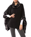 Capote - Poncho W/Faux Fur Collar And Trim (SIAN84, Black & Plaid)