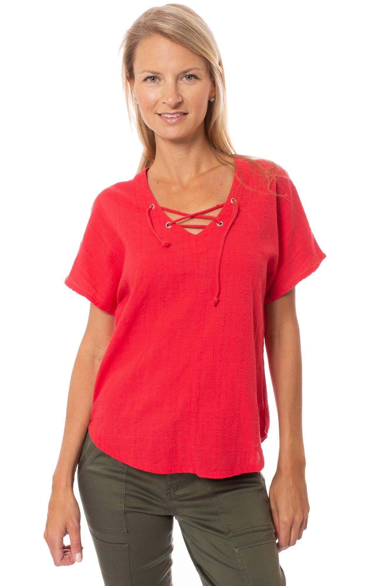 Bobi - Lace Up Dolman (539-34301, Chili)